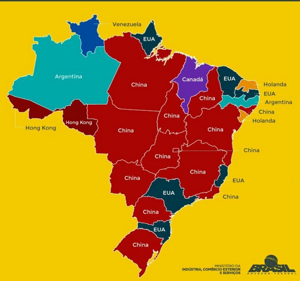 Map Brazil exports by State