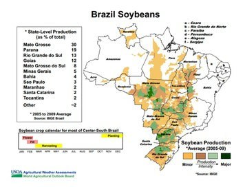 Map soybeans Brazil